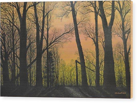 December Dusk - Northern Hardwoods Wood Print