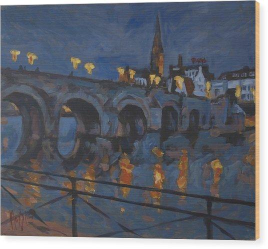 December Lights Old Bridge Maastricht Acryl Wood Print