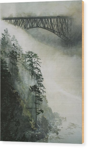 Deception Pass Fog Wood Print