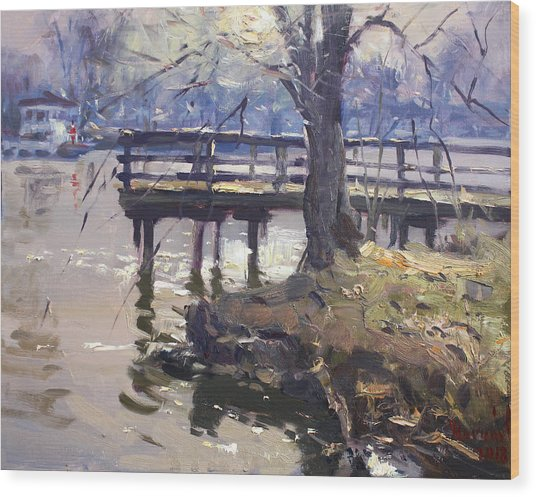 Deck At Tonawanda Canal Wood Print