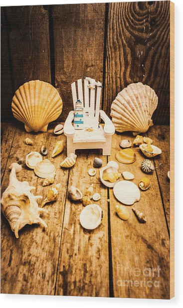 Deckchairs And Seashells Wood Print