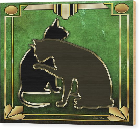 Deco Cats - Emerald Wood Print