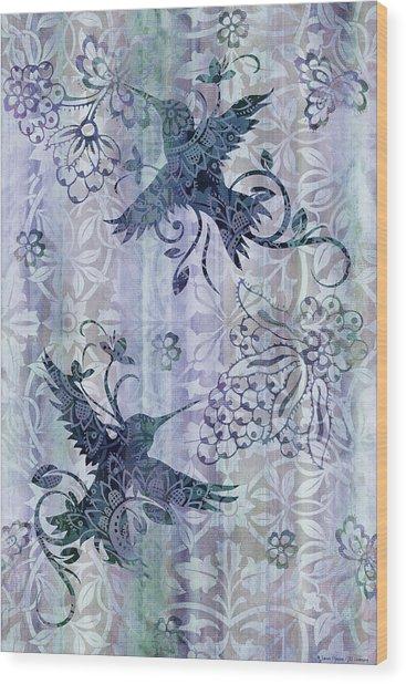 Deco Hummingbird Blue Wood Print
