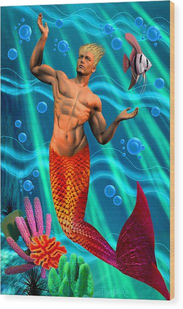 Deco Merman 2 Wood Print