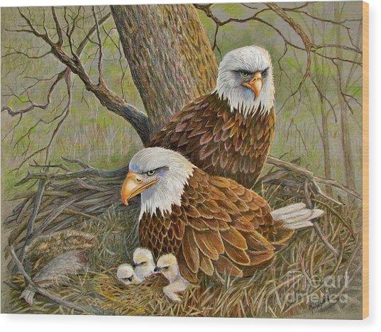 Decorah Eagle Family Wood Print