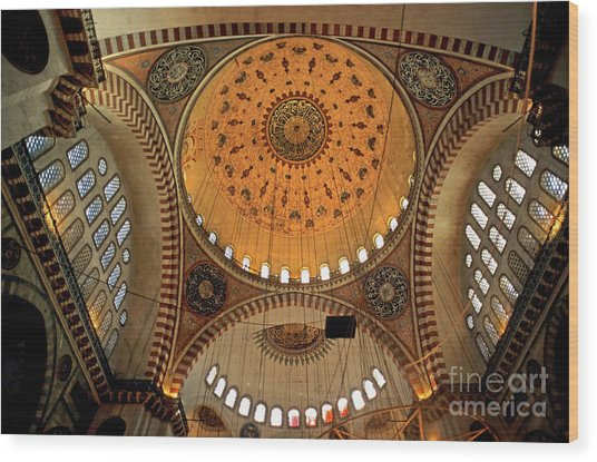 Decorated Dome And Windows Inside The Suleymaniye Mosque In Istanbul Wood Print by Sami Sarkis