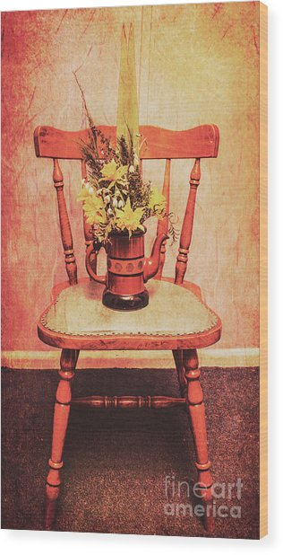 Decorated Flower Bunch On Old Wooden Chair Wood Print