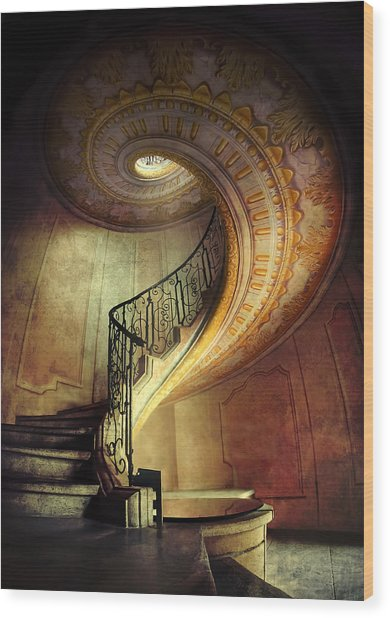 Decorated Spiral Staircase  Wood Print