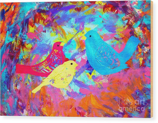 Wood Print featuring the painting Decorative Birds D132016 by Mas Art Studio