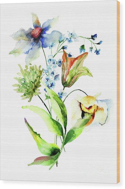 Decorative Flowers Wood Print