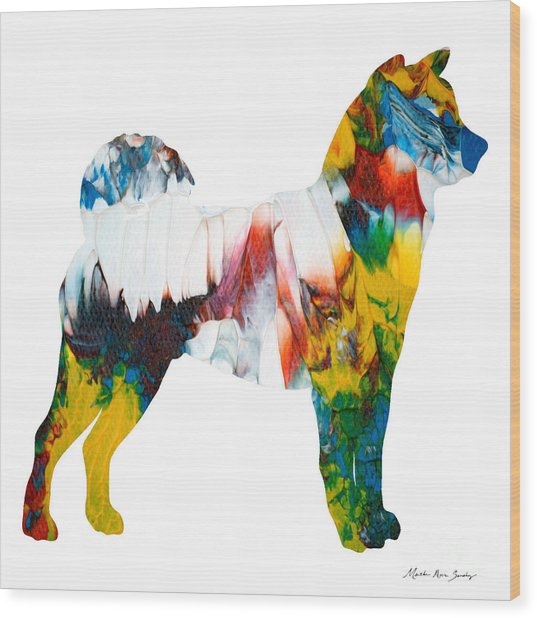 Wood Print featuring the painting Decorative Husky Abstract O1015m by Mas Art Studio