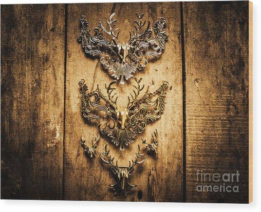 Decorative Moose Emblems Wood Print
