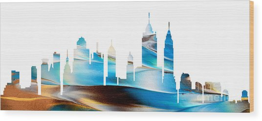 Decorative Skyline Abstract New York P1015a Wood Print