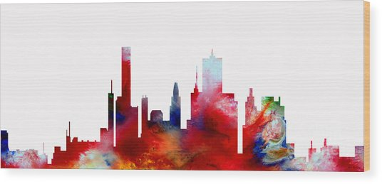 Wood Print featuring the painting Decorative Skyline Abstract  Houston T1115d by Mas Art Studio