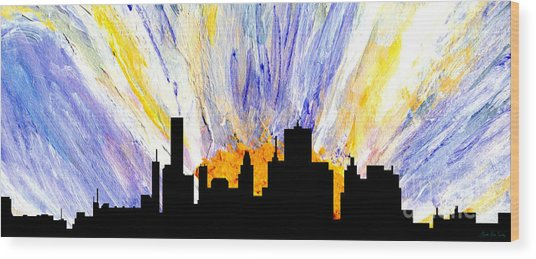 Wood Print featuring the painting Decorative Skyline Abstract  Houston T1115v1 by Mas Art Studio