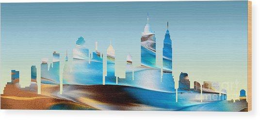 Decorative Skyline Abstract New York P1015b Wood Print
