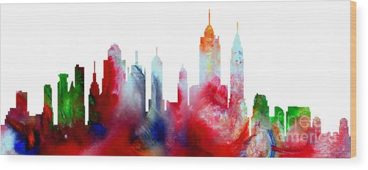 Wood Print featuring the painting Decorative Skyline Abstract New York P1015c by Mas Art Studio