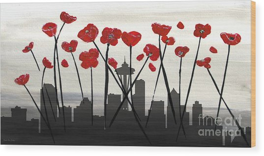 Wood Print featuring the painting Decorative Skyline Abstract  Seattle T1115x1 by Mas Art Studio