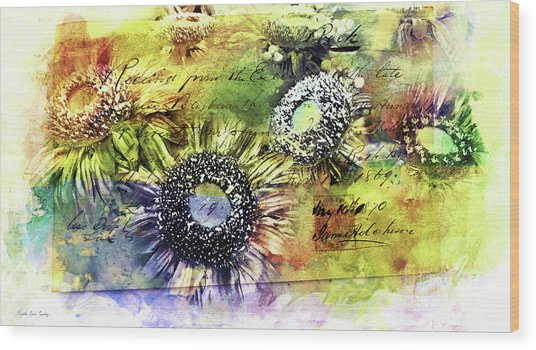 Wood Print featuring the painting Decorative Sunflowers Mixed Media A772016  by Mas Art Studio