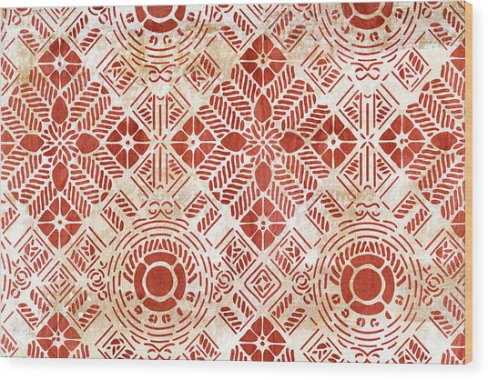 Decorative Vintage Pattern Sanguine Red Wood Print by Frank Tschakert