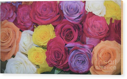 Wood Print featuring the photograph Decorative Wallart Brilliant Roses Photo B41217 by Mas Art Studio