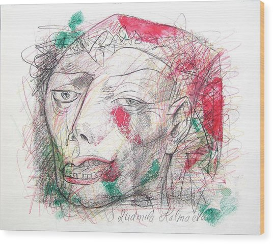 Dedicated To Michael Jackson Wood Print by Ludmila Kalmaeva