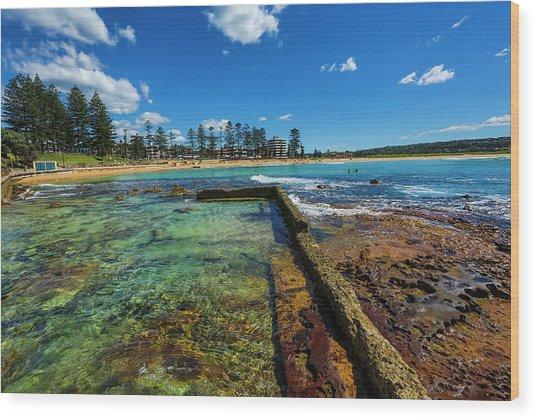 Dee Why Rock Pool Wood Print
