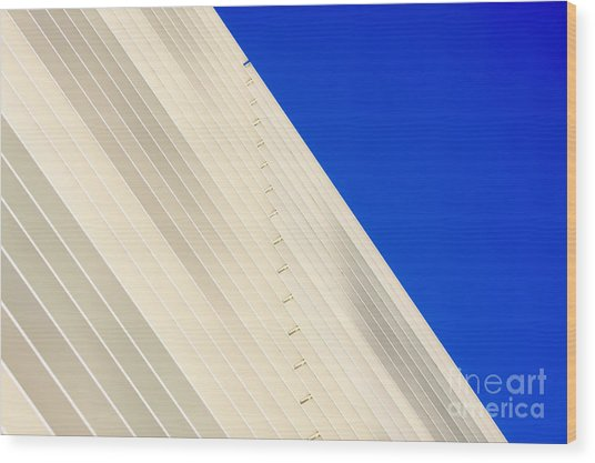 Deep Blue Sky And Office Building Wall Wood Print
