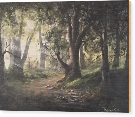 Deep Forest Rays  Wood Print