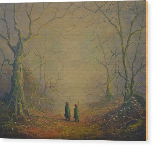 Deep Into The Forest Wood Print