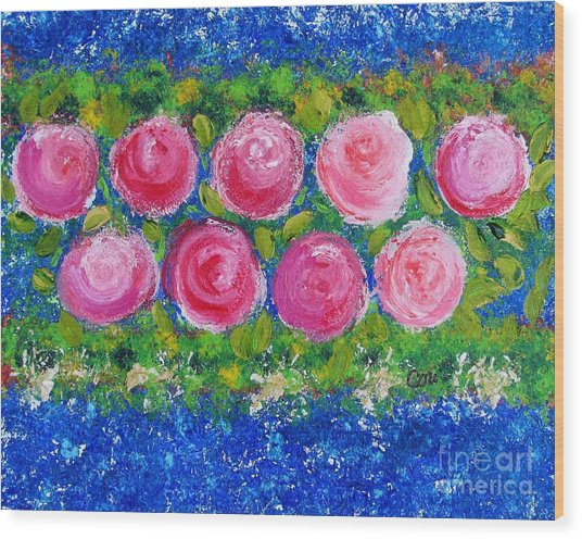 Deep Pink Flowers Wood Print