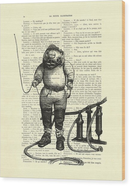 Deep Sea Diver Wood Print
