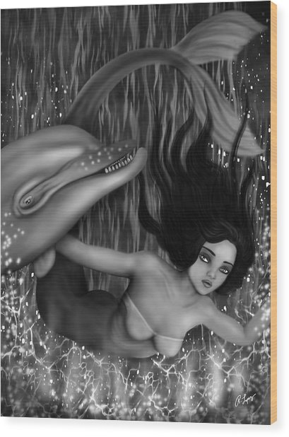 Deep Sea Mermaid - Black And White Fantasy Art Wood Print