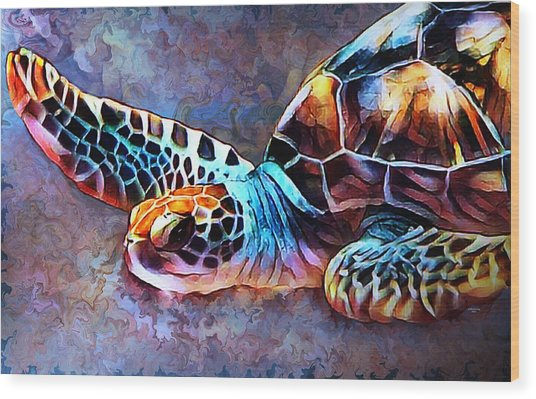 Deep Sea Trutle Wood Print