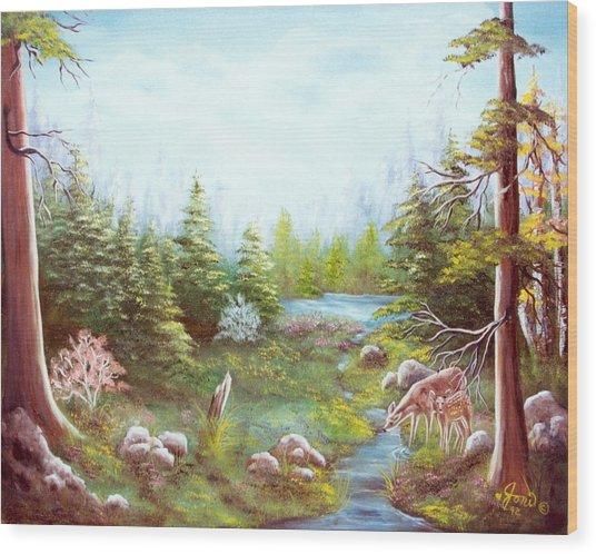 Deer And Stream Wood Print