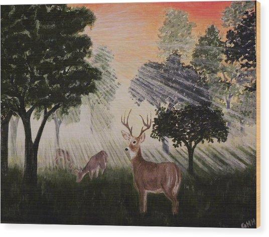 Deer At Dawn Wood Print by G H Hisayasu