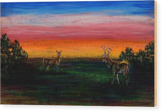 Deer Dawn Wood Print