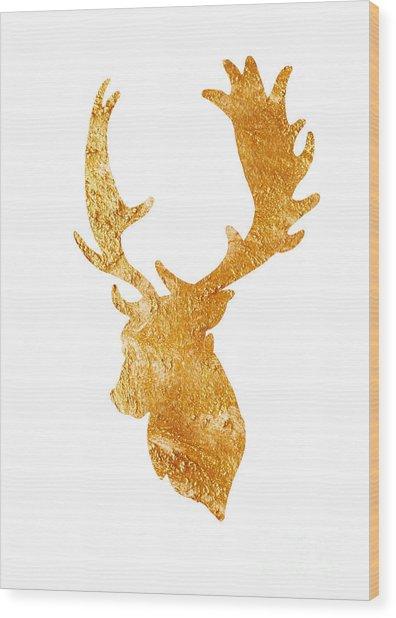 Deer Head Silhouette Drawing Wood Print