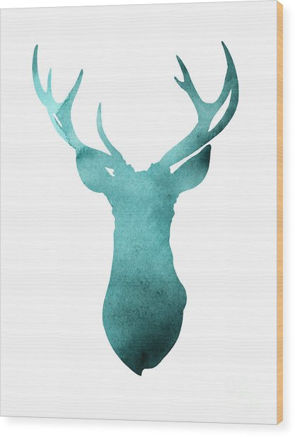 Deer Head Watercolor Giclee Print Wood Print