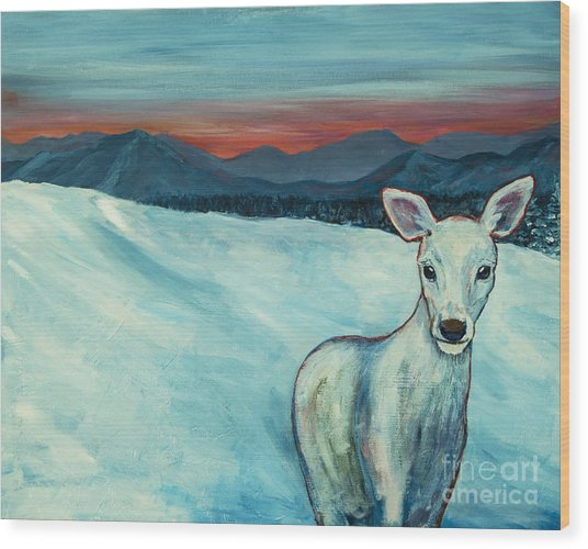Wood Print featuring the painting Deer Jud by Angelique Bowman
