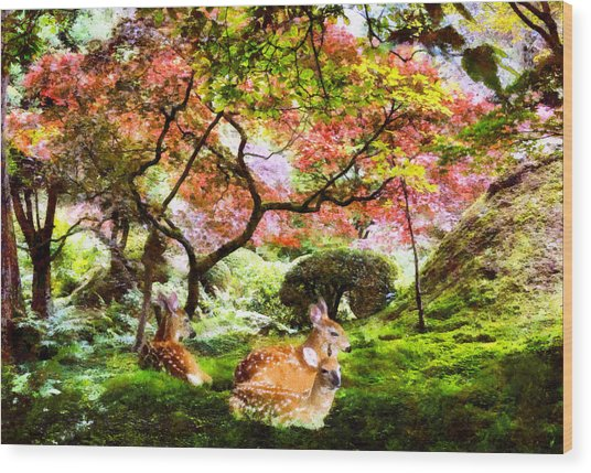 Deer Relaxing In A Meadow Wood Print