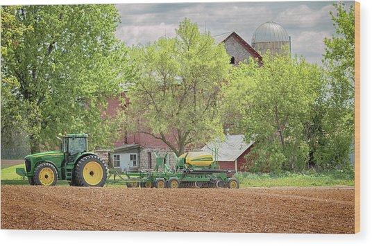 Deere On The Farm Wood Print