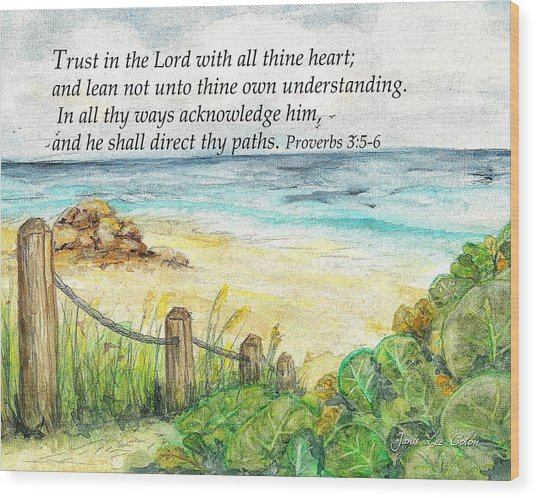Deerfield Beach Sea Grapes Proverbs 3 Wood Print