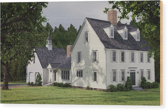 Deerfield Colonial House Wood Print