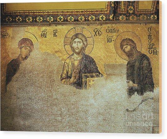 Deesis Mosaic Hagia Sophia-christ Pantocrator-the Last Judgement Wood Print