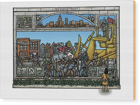 Defend Detroit Wood Print by Ricardo Levins Morales