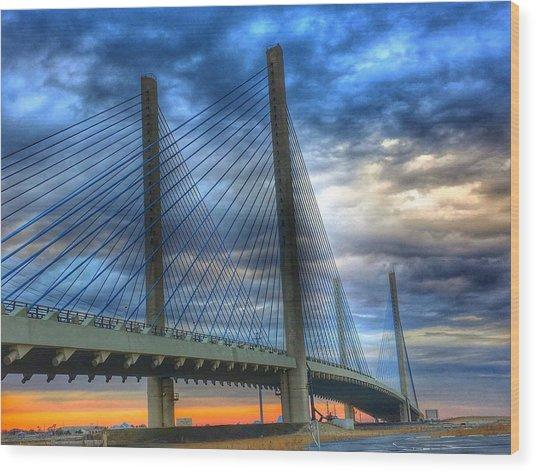 Delaware Bridge At Sunset Wood Print