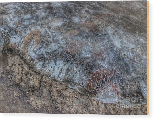Delaware River Ice With Leaves Wood Print