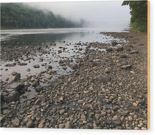 Delaware River Mist Wood Print