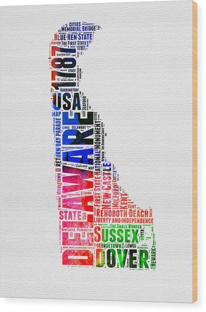 Delaware Watercolor Word Cloud  Wood Print